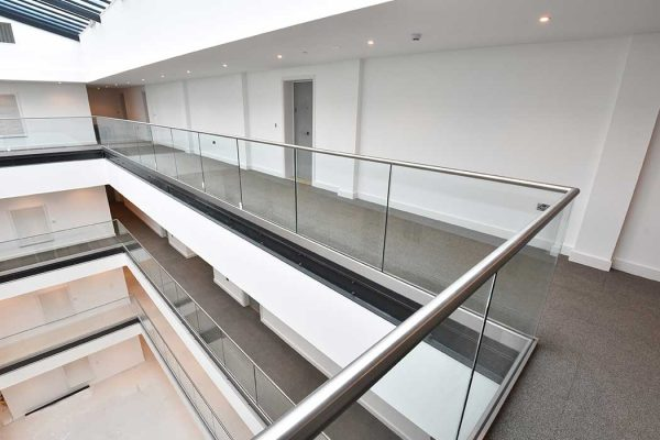 Glass balustrades at Linden House development