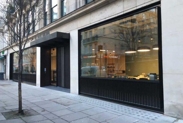 Elegant glass shop front