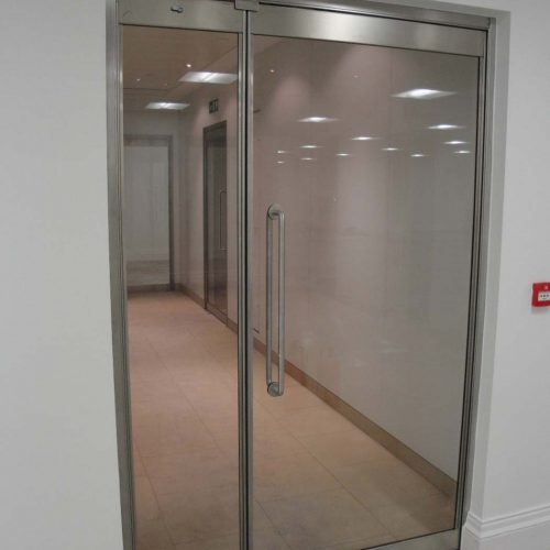 Fire resistant glass door in office development