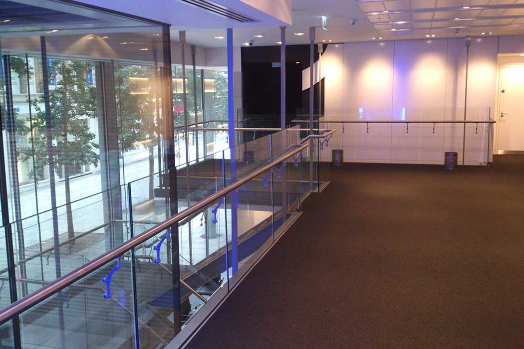 Glass balustrades in commercial project