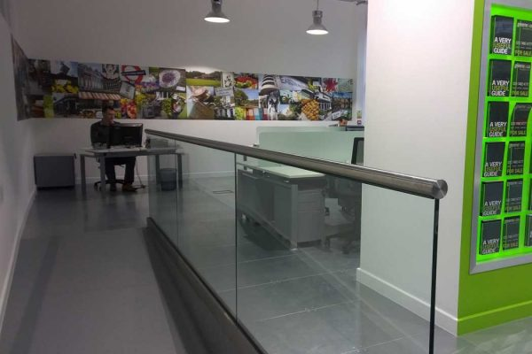 Glass balustrades in office
