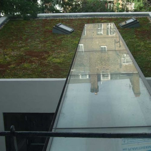 Glass roof on domestic property